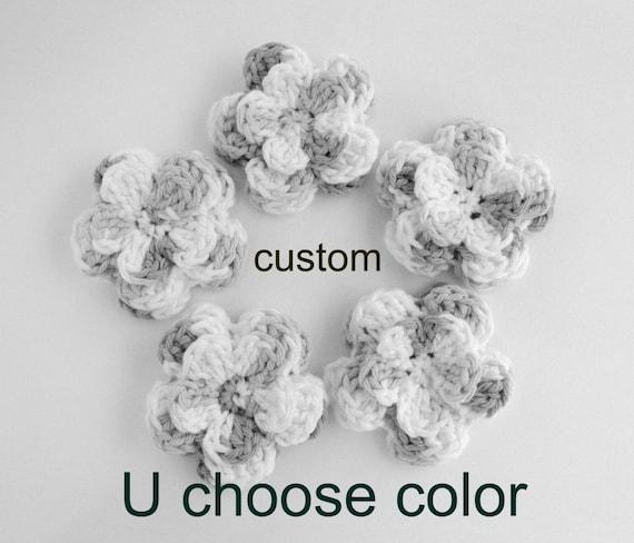 Little Miss Frilly five 3 inch flower appliques CUSTOM U chose color