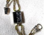 Labradorite Silver Watch.with Swarovski Crystals Jewelry W061