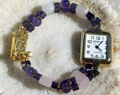 Gold Plate Watch, Amethyst and Rose Quartz Jewelry W022