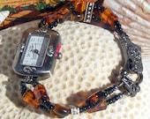 Gunmetal Watch, Tiger Eye and Glass Beads Jewelry W039