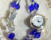 Silver Watch, Blue Beads Jewelry W019