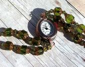 Swarovski Copper Watch, Green Cathedral Beads Jewelry W015