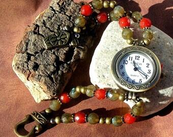 Brass Watch, Labradorite, Carnelian Jewelry W088