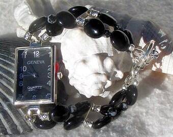 Silver Watch Obsidian Jewelry W049