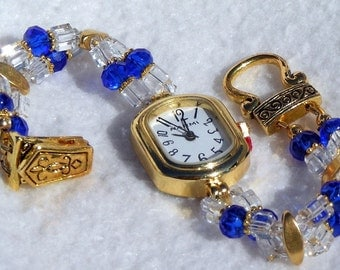 Gold Watch, Blue Facets Beads Jewelry W048