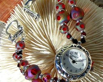 Silver Watch,Swarovski Red Cut Glass Jewelry W092