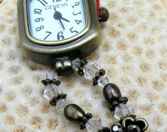 Antique Brass Watch, Swarovski Crystal, Fresh Water Pearl Jewelry W066