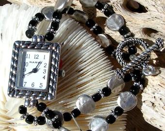 Silver Watch Black Bead Jewelry W067