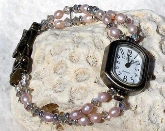 Fresh Water Pearl and Swarovski Crystal Bronze and Brass Watch Jewelry W071