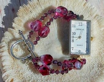 Silver Watch, Swarovski Crystal Beads Jewelry W001