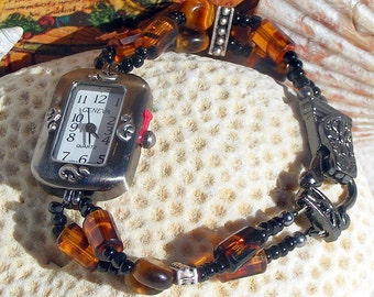Gunmetal Watch, Tiger Eye and Glass Beads Jewelry W039