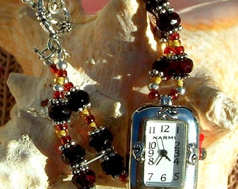 Silver Watch, Ruby Red  Beads - W050