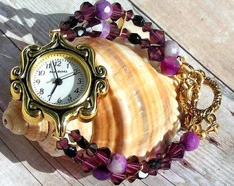 Gold Watch, Swarovski, Purple Agate Jewelry W083