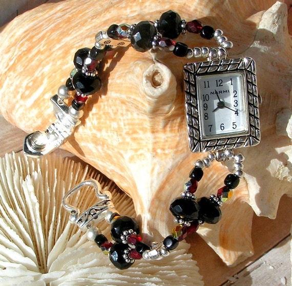 Dramatic Silver Watch, Black, Red  Jewelry W090