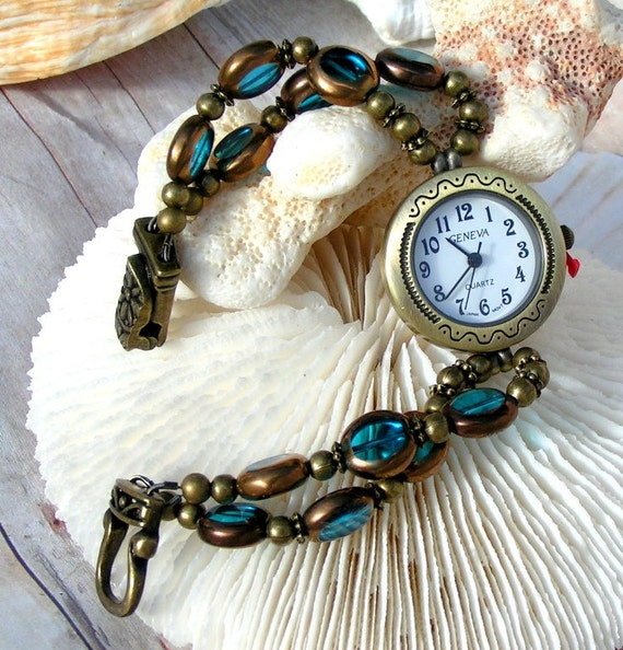 Antique Brass Watch and Blue Beads Jewelry W081