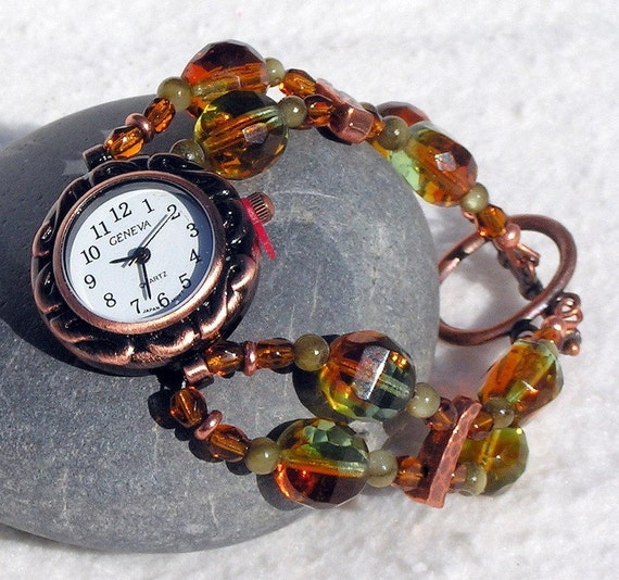 Copper Watch, Olive Dyed Mother-of-Pearl, Faceted Glass Beads Jewelry W042