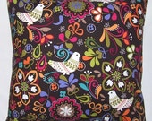 16 Inch Cushion Cover - Colourful Scandanavian Inspired Design on a Dark Brown Background