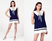 Vintage 60s Sailor White Dolly Collar Bow Nautical Mod Mini Dress L XL