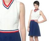 Vintage Mini Dress 60s Mod Red White Blue Vicky Vaughn Striped 1960s 70s High Waist Preppy Sleeveless Cable Knit Dress Small Medium S M
