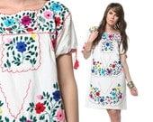 Embroidered Mexican Dress 60s 70s Hippie Boho Mini Floral Cotton Tunic 1970s Ethnic Bohemian Vintage White Tent Dress Medium Large M L