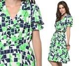 60s Ruffle Dress Puff Sleeve Mod Mini Geometric Print 70s Lime Green Navy Blue 1960s High Elastic Waist Knee Length Plus Size Extra Large XL