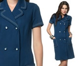 1960s Mod Dress Double Breasted Mini Navy Blue Pocket 60s Collared Shift Waitress Vintage Retro Button Short Sleeve Dress Medium Large M L