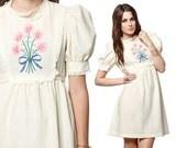 60s Babydoll Dress Puff Sleeve Embroidered Floral 70s Boho Hippie Lace Bib Cream Cotton Empire Vintage 1960s Mini Dress Small Medium S M