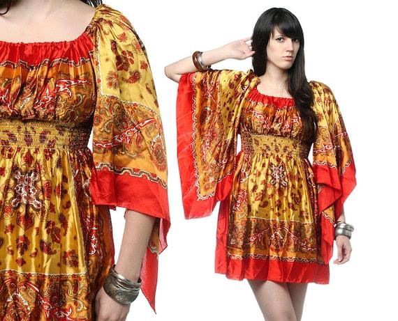 70s Boho Scarf Dress - Angel Sleeve Paisley Print Yellow Mini S M L