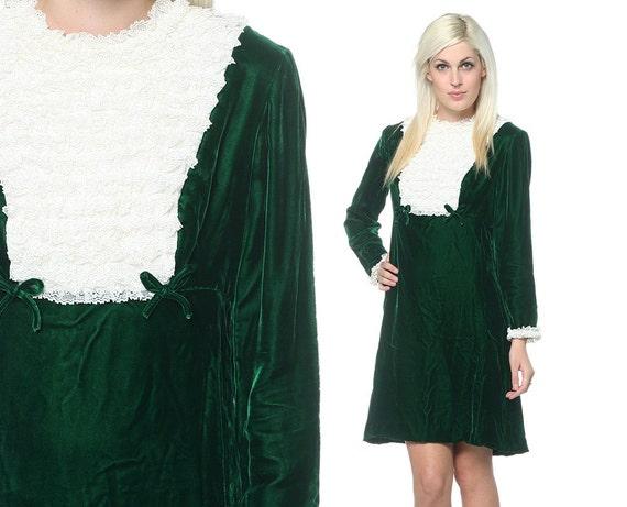 60s Velvet Lace Dress Bib Ruffles Mod Mini Dolly Twiggy Lolita Babydoll Green Vintage Medium M