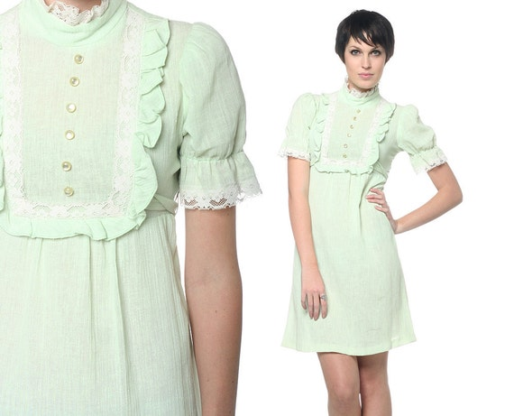 1960s Mini Dress Babydoll Puff Sleeve Lace and Ruffles Bib Sheer Cotton Green Dolly Vintage 60s Boho Buttons Victorian Romantic Small Medium