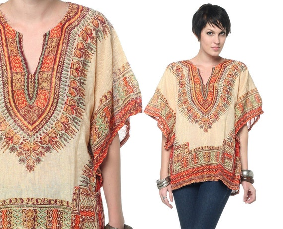 60s 70s Hippie Dashiki Top Ethnic Bell Sleeve 1970s Boho Tunic Metallic Bohemian African Cotton Blouse Pockets Shirt Medium Large S M L