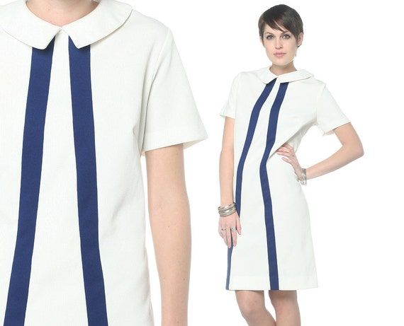 1960s Mod Dress Peter Pan Collar Striped Blue and White Plus Size 60s Shift Mini Short Sleeve Vintage 60 Scooter Dress Extra Large XL