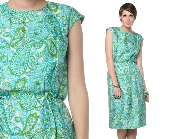 60s Paisley Dress Hourglass Blue Green 1960s Wiggle Cap Sleeve Mad Men Pencil Vintage Silky High Waist Day Dress Small S