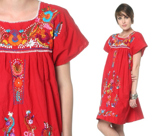 Embroidered mexican dress mini red s hippie boho