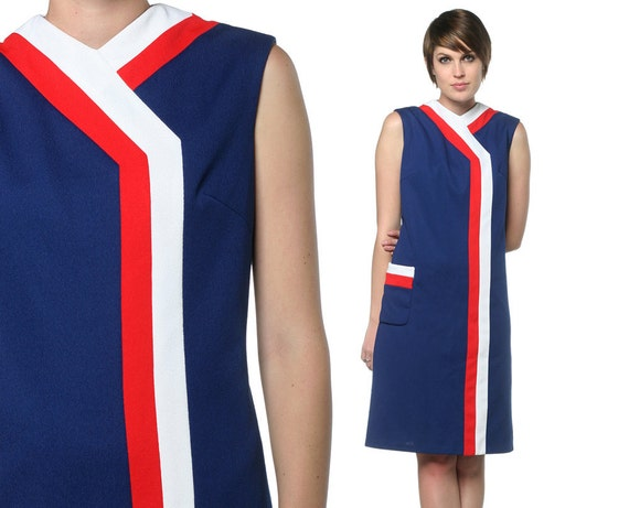 60s Mod Mini Dress Space Age Red White Blue Stewardess 1960s Shift Scooter Vintage Twiggy Sleeveless Pocket Dress Large L