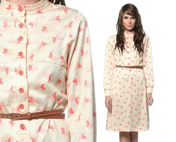 70s Butterfly Dress Button Up 60s Pockets Vintage Cream Knee Length 1970s Hippie Retro Long Sleeve Midi Peach Dress Medium Large M L