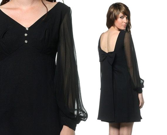 1960s Cocktail Dress Black Mini Bow 1960s Party Chiffon Sleeves Rhinestone Buttons Mod Vintage Empire Waist Evening Dress Small Medium S M