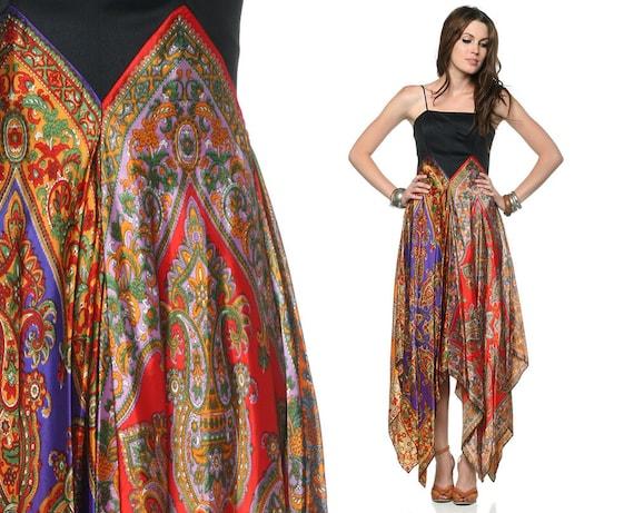 70s Hippie Dress Scarf Print Handkerchief High Low Hem Boho 1970s Bohemian Chic Festival Jewel Tone Purple Gold Party Dress Extra Small XS S
