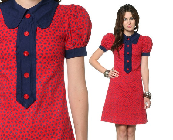 Peter Pan Dress Puff Sleeve 60s Mini Mod Collar 1960s Shift Red Navy Blue Paisley Print Tuxedo Button Vintage Minidress Extra Small XS S