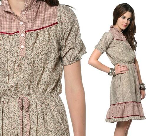70s Prairie Dress Bohemian Sun Calico 1970s Sundress Hippie Mini Checkered Tiered Puff Sleeve Cotton Beige Red High Waist Medium Large M L