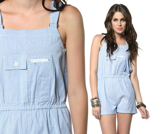 Romper Overalls Shorts 80s Light Blue Striped Pockets 70s Cuffed High Waisted 1980s Hipster Indie Vintage Playsuit Onesie Small Medium S M