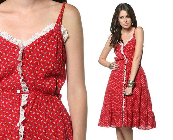 70s Floral Dress Red Sundress Bohemian Eyelet Lace 1970s Boho Ruffle Hem Spaghetti Strap Smocked Button Up Vintage Midi Dress Large L