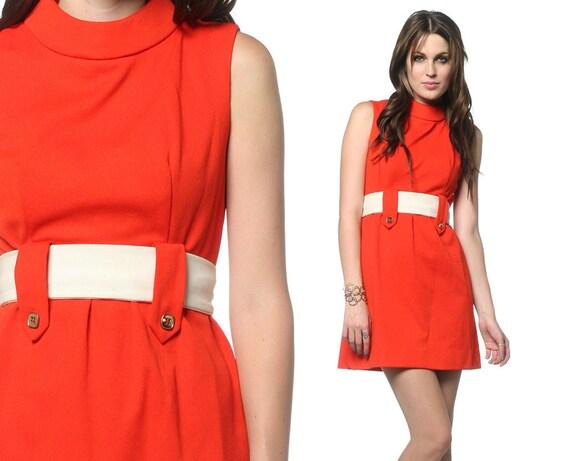 1960s Mod Dress Orange White Belted Space Age 60s Mini Sleeveless Gogo Empire Waist High Neck Sixties Babydoll Minidress Extra Small XS S