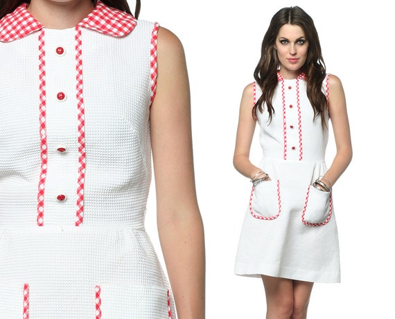 60s Lolita Dress Gingham Dolly Peter Pan Collar Mod Mini White Red 1960s Vintage Pocket Button Preppy Sleeveless Dress Small Medium S M