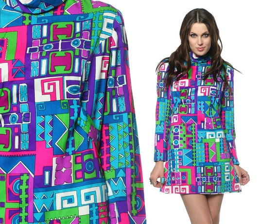 60s Psychedelic Dress Geometric Mod Micro Mini 1960s Hippie Bright Turquoise Neon Gogo Vintage Long Sleeve Tunic Shift Minidress Medium M
