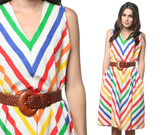 Rainbow Striped Dress 70s Chevron Tent V Neck Retro 1970s Hippie  Midi Sleeveless Cotton A Line Knee Length Festival Medium Extra Large L XL