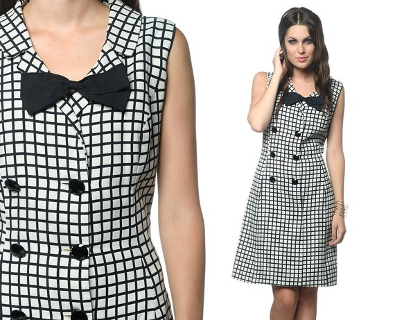 Double Breasted Dress Bow 60s Mod Mini Button Up Black White Mad Men 1960s Crosshatch Shift Vintage Sleeveless Medium Large M L