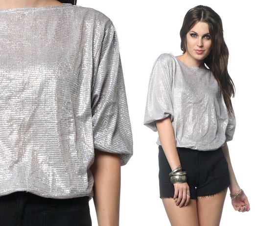Metallic Top 80s SILVER Blouse 1980s Slouchy BATWING Sleeves Glam Vintage Lurex Sparkle Boatneck Cocktail Shirt Small Medium Large S M L