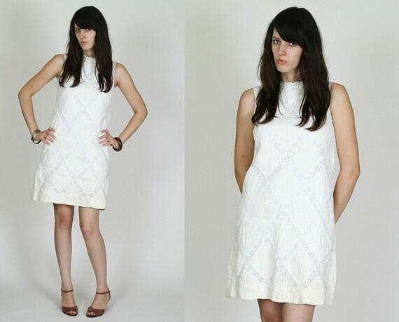 Vintage White Crochet Lace Mexican 60s Mod Mini Dress S M