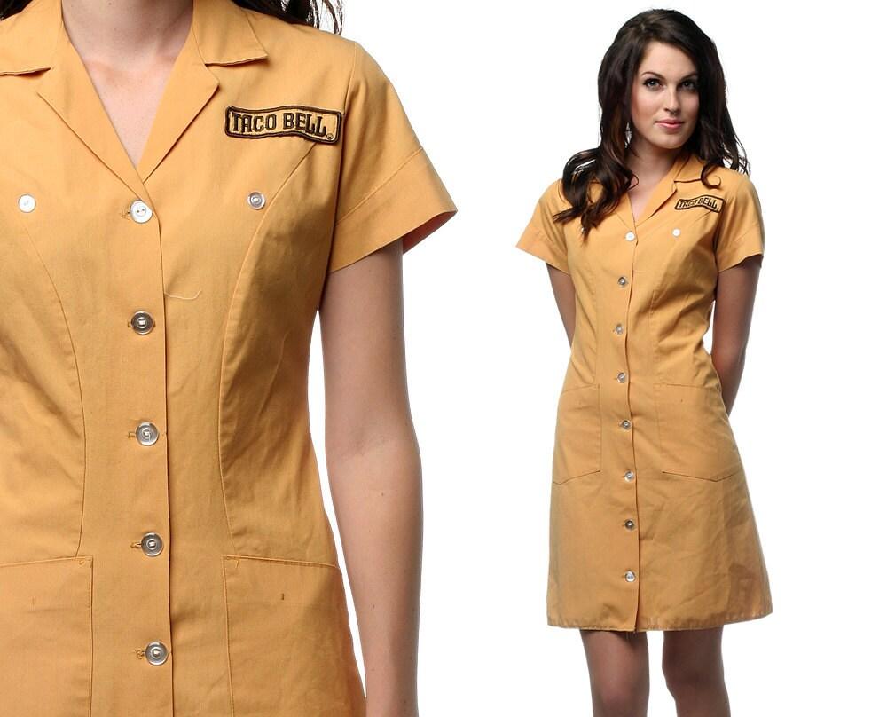 Vintage taco bell waitress uniform 60s 70s diner mini by shopexile